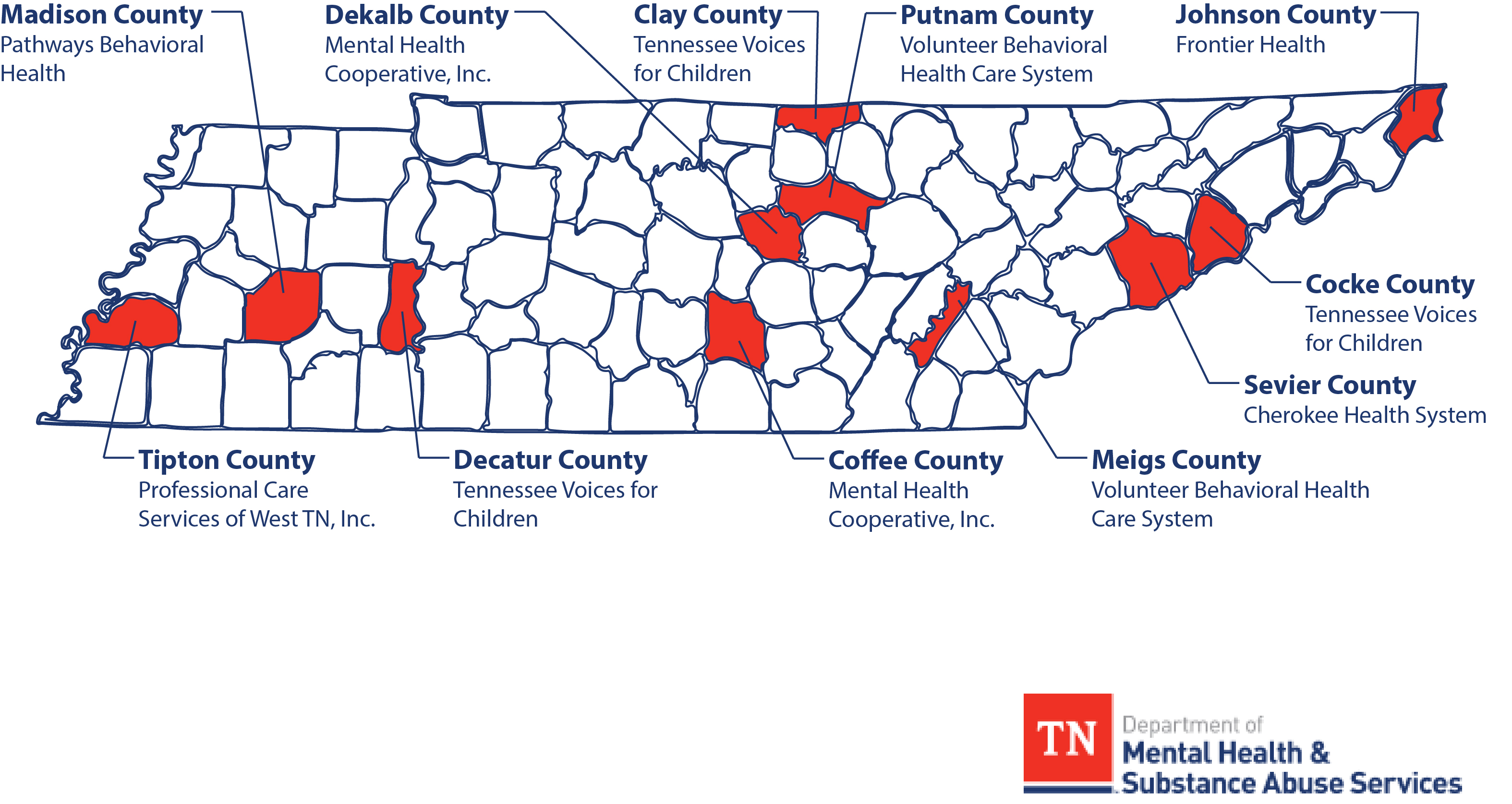 System Of Care Across Tennessee Services & Coverage Map